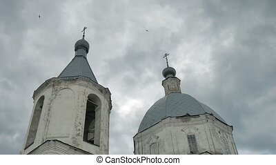 church russian domes orthodox against the sky blue slow...
