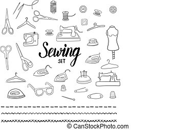 Sewing set with hand drawn elements