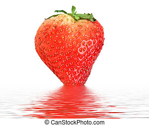 One red strawberry in water
