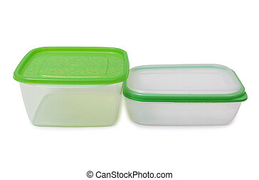 Containers for lunch on white - Plastic food containers on a...