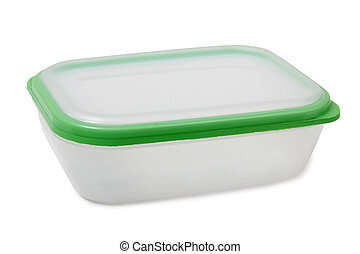 Containers on white background - Plastic food containers on...