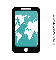 modern cellphone with world map on screen icon