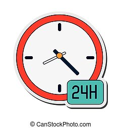 clock 24h icon - flat design clock 24h icon vector...