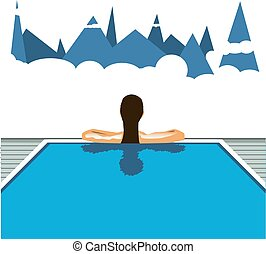 Girl in the hotel pool. Vector travel illustration