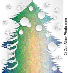 New Year decoration. - Paper New Year Tree on psychodelic...