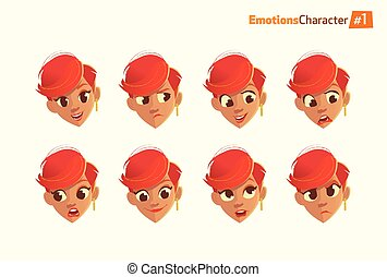 Woman with different facial expressions set. Happiness, sadness, frustrations, angry, surprise, surprise.