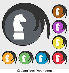 Chess knight sign icon. Symbols on eight colored buttons....