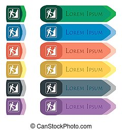 rock climbing icon sign. Set of colorful, bright long buttons with additional small modules. Flat design