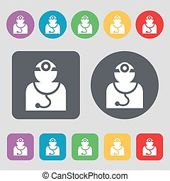 Doctor with stethoscope around his neck icon sign A set of...