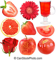 Set of red fruits, vegetables and flowers. Isolated on white...