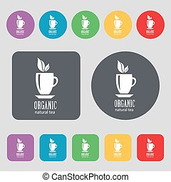 Organic natural tea icon sign A set of 12 colored buttons...