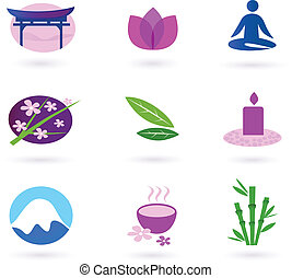 Wellness, asia, relaxation and spa - Vector set of 9 graphic...