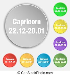 Capricorn icon sign. Symbol on eight flat buttons. Vector