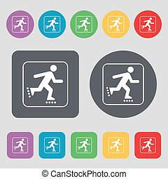 roller skating icon sign. A set of 12 colored buttons. Flat...