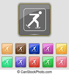 Ice skating icon sign. Set with eleven colored buttons for your site. Vector