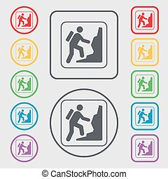 rock climbing icon sign. symbol on the Round and square buttons with frame. Vector