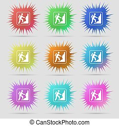 rock climbing icon sign. A set of nine original needle buttons. Vector