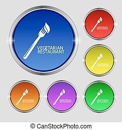 vegetarian restaurant icon sign. Round symbol on bright colourful buttons. Vector