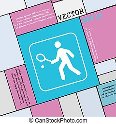 Tennis player icon sign Modern flat style for your design...