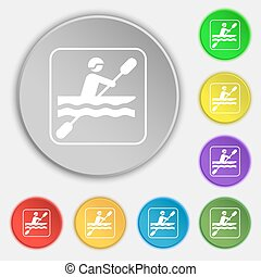 canoeing icon sign. Symbol on eight flat buttons. Vector