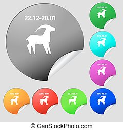 Capricorn icon sign. Set of eight multi colored round buttons, stickers. Vector
