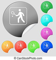 Tennis player icon sign. Set of eight multi colored round...