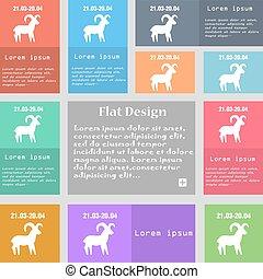 Decorative Zodiac Aries icon sign. Set of multicolored...