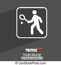 Tennis player symbol Flat modern web design with long shadow and space for your text. Vector