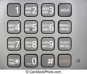 Metallic phone keypad Close-up Studio photography