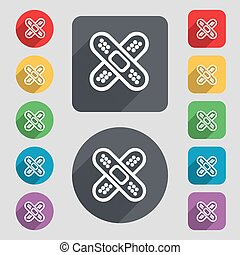 adhesive plaster icon sign. A set of 12 colored buttons and...