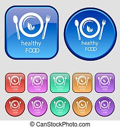 healthy food concept icon sign. A set of twelve vintage buttons for your design. Vector