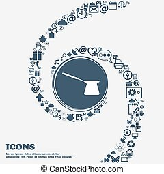 Coffee turk icon in the center. Around the many beautiful symbols twisted in a spiral. You can use each separately for your design. Vector