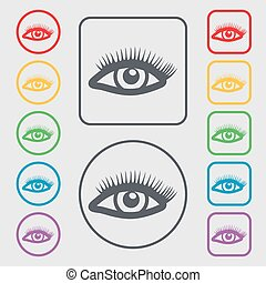 eyelashes icon sign. symbol on the Round and square buttons with frame. Vector