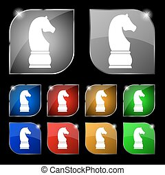 Chess knight icon sign. Set of ten colorful buttons with...