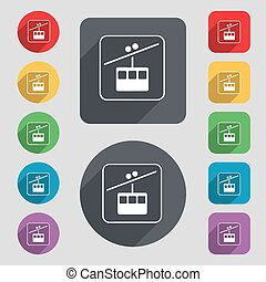 cable car line icon sign. A set of 12 colored buttons and a...