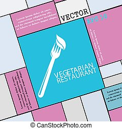 vegetarian restaurant icon sign. Modern flat style for your design. Vector