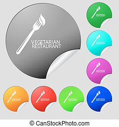 vegetarian restaurant icon sign. Set of eight multi colored round buttons, stickers. Vector