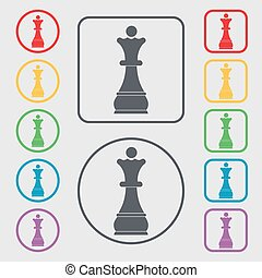 Chess Queen icon sign. symbol on the Round and square buttons with frame. Vector