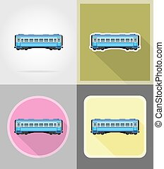 railway carriage train flat icons vector illustration...