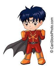 Chibi style illustration of a superhero isolated on white