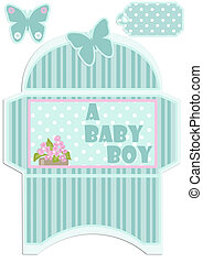 Paper cut out kids envelope and tag for birthday or baby shower invitation isolated