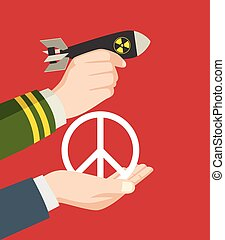 War or Peace - Illustration of a man hand in military...