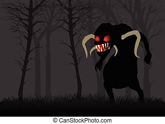 Scary Monster In Dark Woods - Silhouette illustration of a...