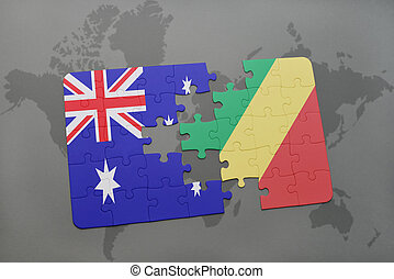 puzzle with the national flag of australia and republic of...