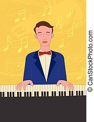 Naive art illustration of a pianist