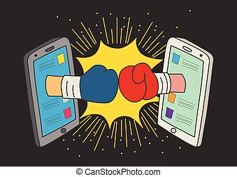 Concept for social media fight - Naive art or cartoon...