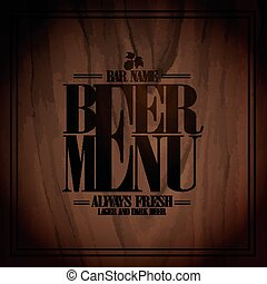Beer menu design for bar