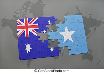 puzzle with the national flag of australia and somalia on a...