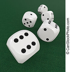5 classic white Dices. - 3D Render of 5 classic White dices...