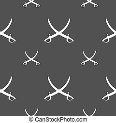 Crossed saber sign Seamless pattern on a gray background...